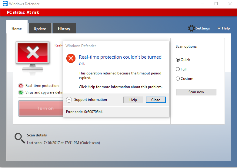windows defender not working